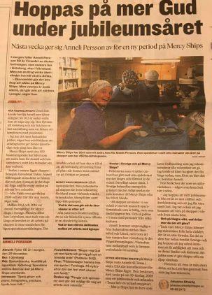 Artikel i tidningen Dagen om Anneli Persson