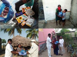 Nödhjälp under coronakrisen mat distribuerad till Indien